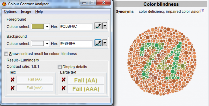 The Colour Contrast Analyser evaluates an image for color-blind people